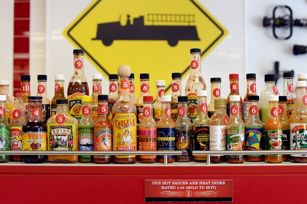 Firehouse Subs offers a variety of hot sauces, rated for heat, for their customers.  Melanie Maxwell I AnnArbor.com